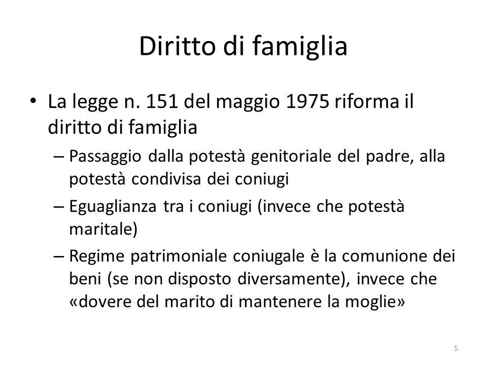 Diritto di famiglia La legge n. 151 del maggio 1975 riforma il diritto di famiglia.