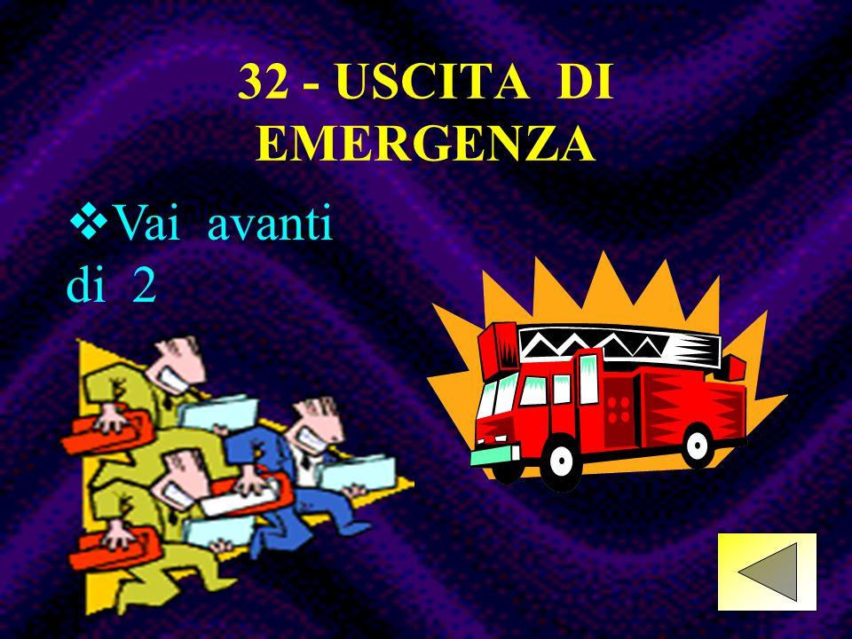 32 - USCITA DI EMERGENZA Vai avanti di 2 Vai avanti