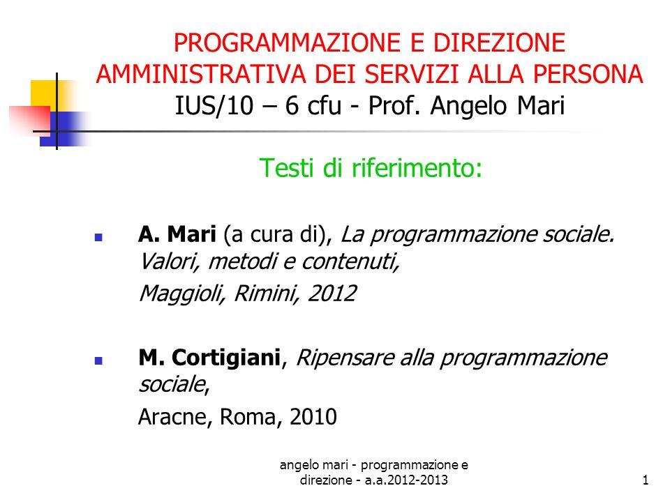 angelo mari - programmazione e direzione - a.a.2012-2013