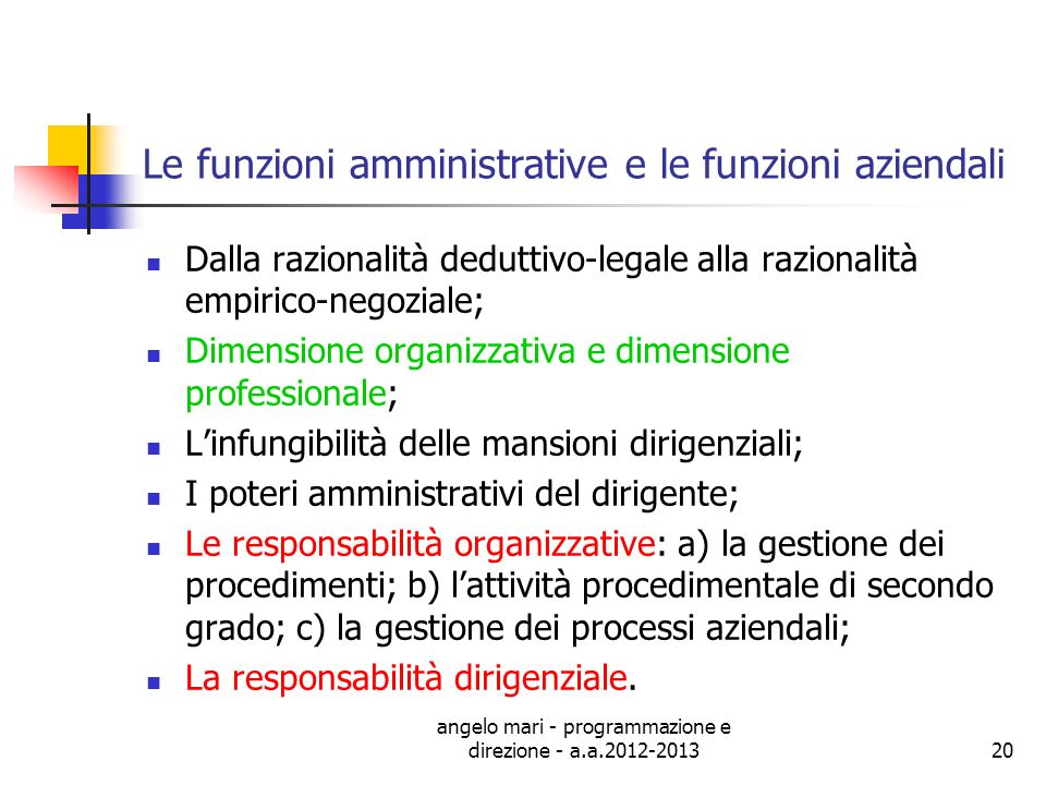 Le funzioni amministrative e le funzioni aziendali