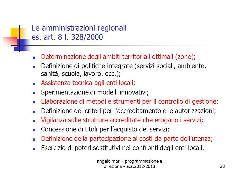 Le amministrazioni regionali es. art. 8 l. 328/2000