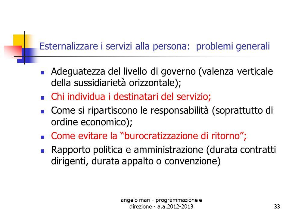 Esternalizzare i servizi alla persona: problemi generali