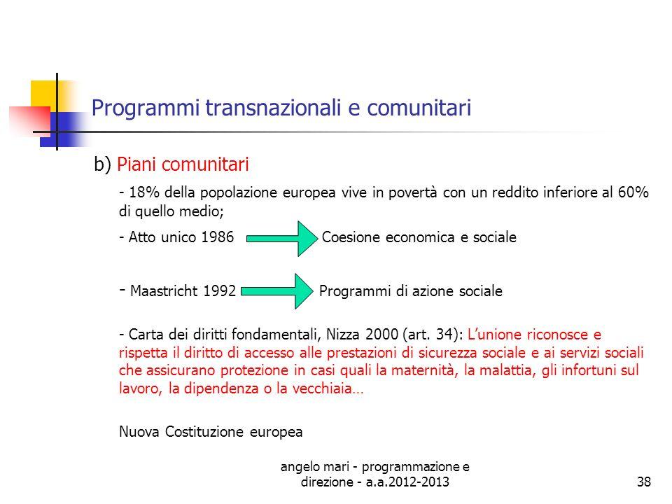 Programmi transnazionali e comunitari