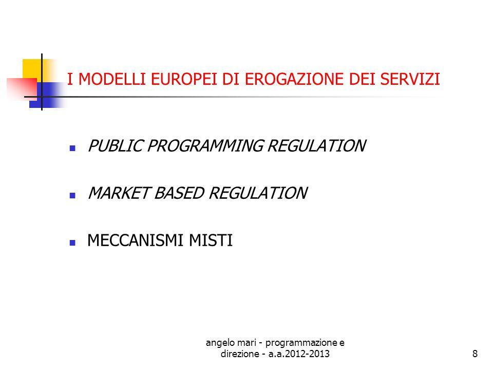I MODELLI EUROPEI DI EROGAZIONE DEI SERVIZI