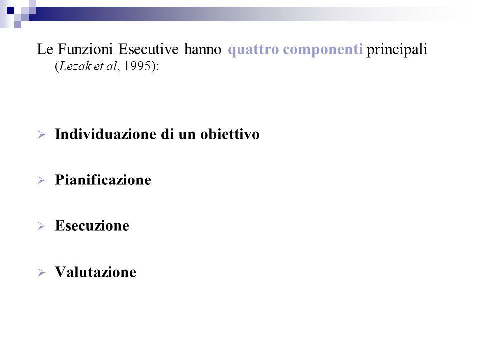 Le Funzioni Esecutive hanno quattro componenti principali (Lezak et al, 1995):