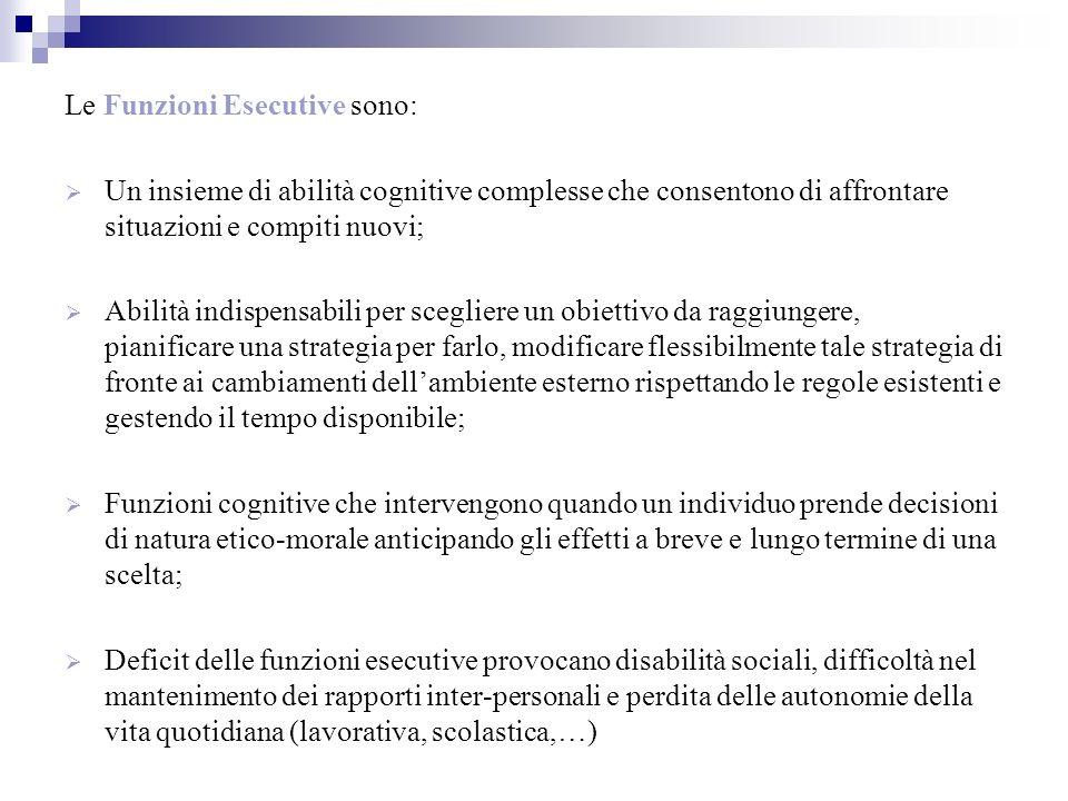 Le Funzioni Esecutive sono: