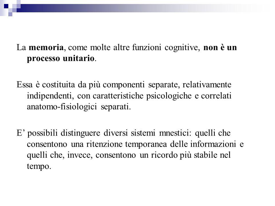 La memoria, come molte altre funzioni cognitive, non è un processo unitario.
