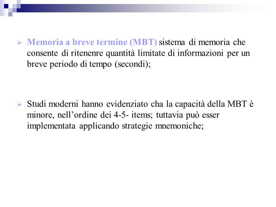 Memoria a breve termine (MBT) sistema di memoria che consente di ritenenre quantità limitate di informazioni per un breve periodo di tempo (secondi);