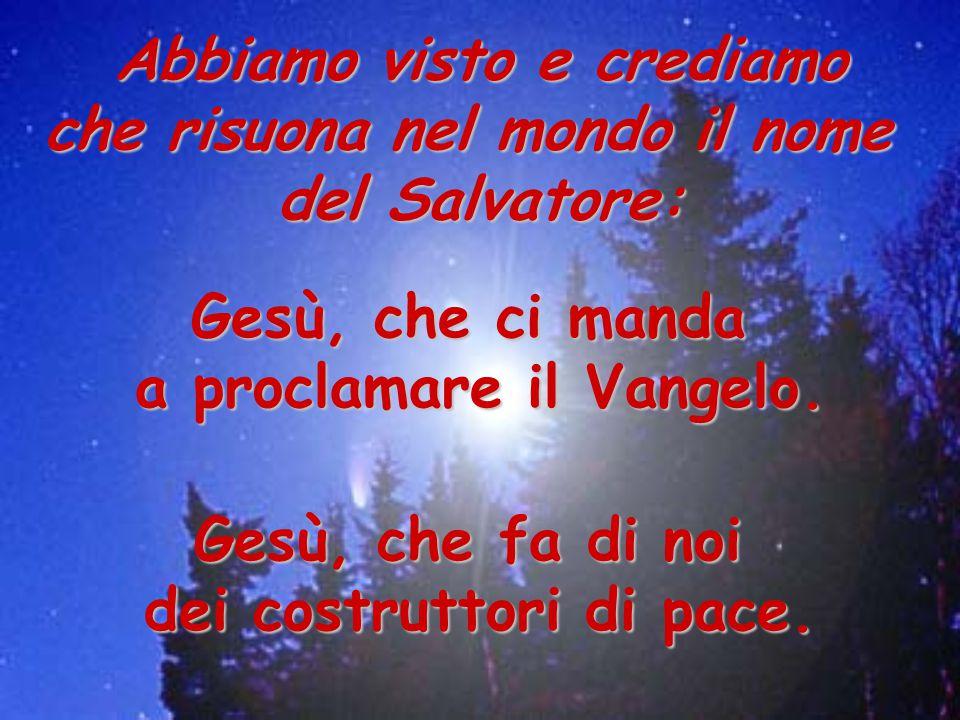 Abbiamo visto e crediamo che risuona nel mondo il nome del Salvatore: