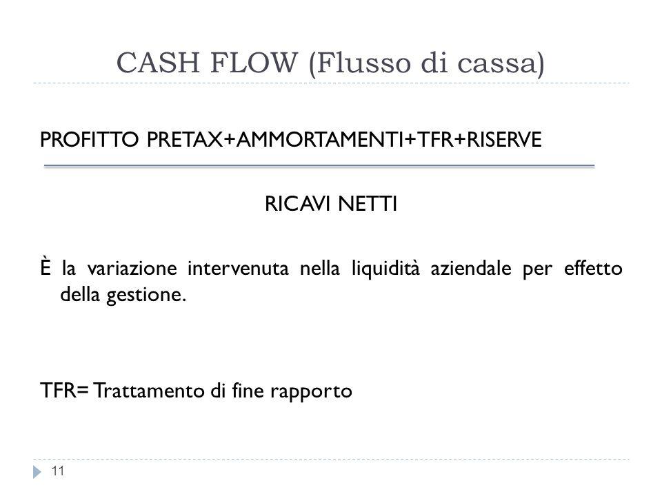CASH FLOW (Flusso di cassa)