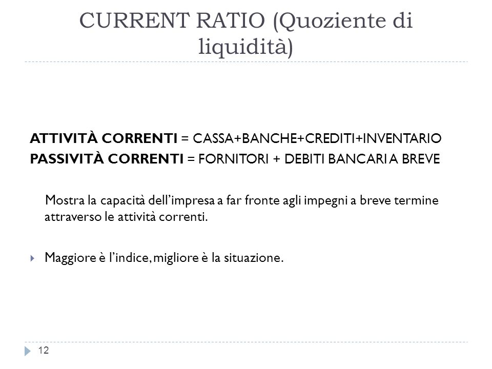CURRENT RATIO (Quoziente di liquidità)
