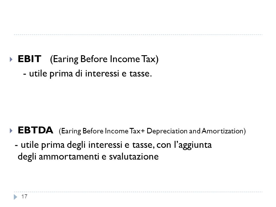 EBIT (Earing Before Income Tax)