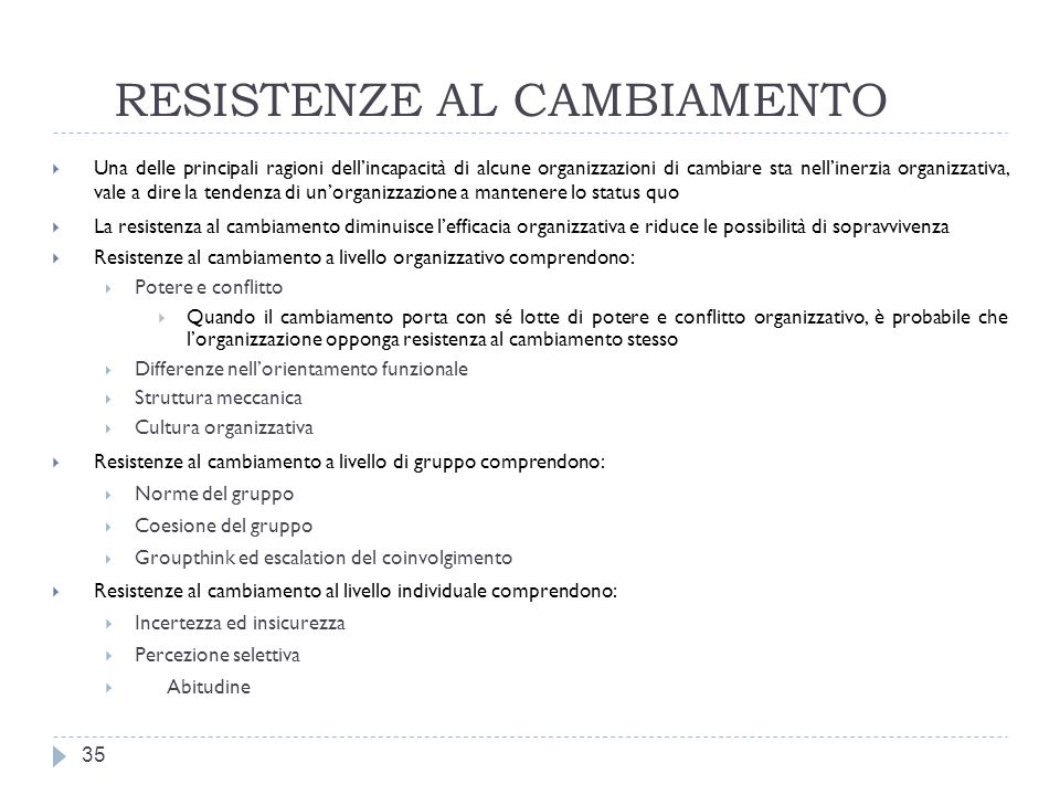 RESISTENZE AL CAMBIAMENTO