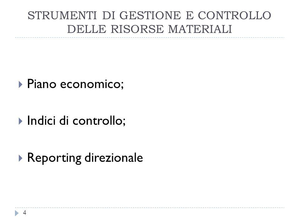 STRUMENTI DI GESTIONE E CONTROLLO DELLE RISORSE MATERIALI