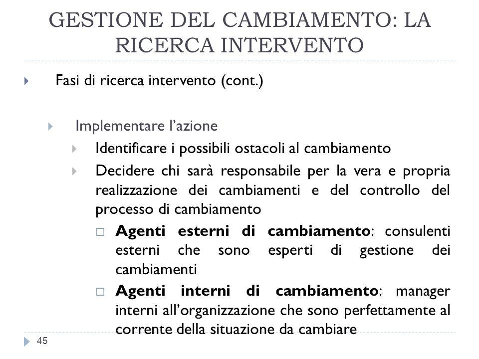 GESTIONE DEL CAMBIAMENTO: LA RICERCA INTERVENTO