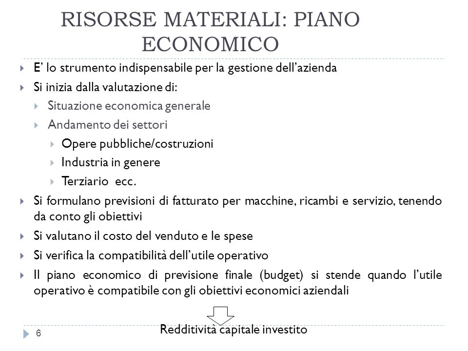 RISORSE MATERIALI: PIANO ECONOMICO