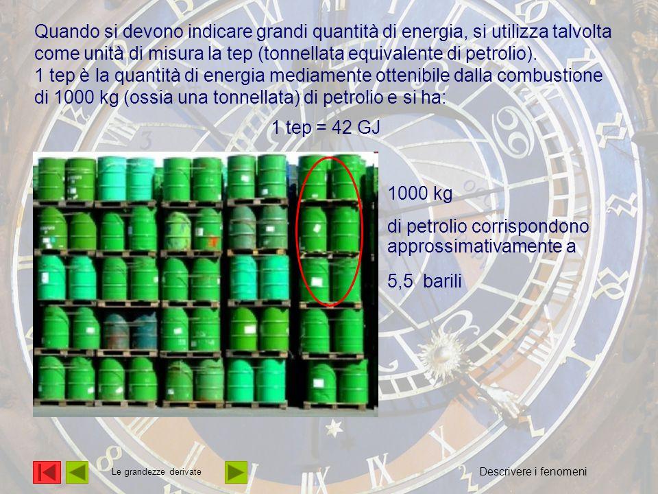Quando si devono indicare grandi quantità di energia, si utilizza talvolta come unità di misura la tep (tonnellata equivalente di petrolio).