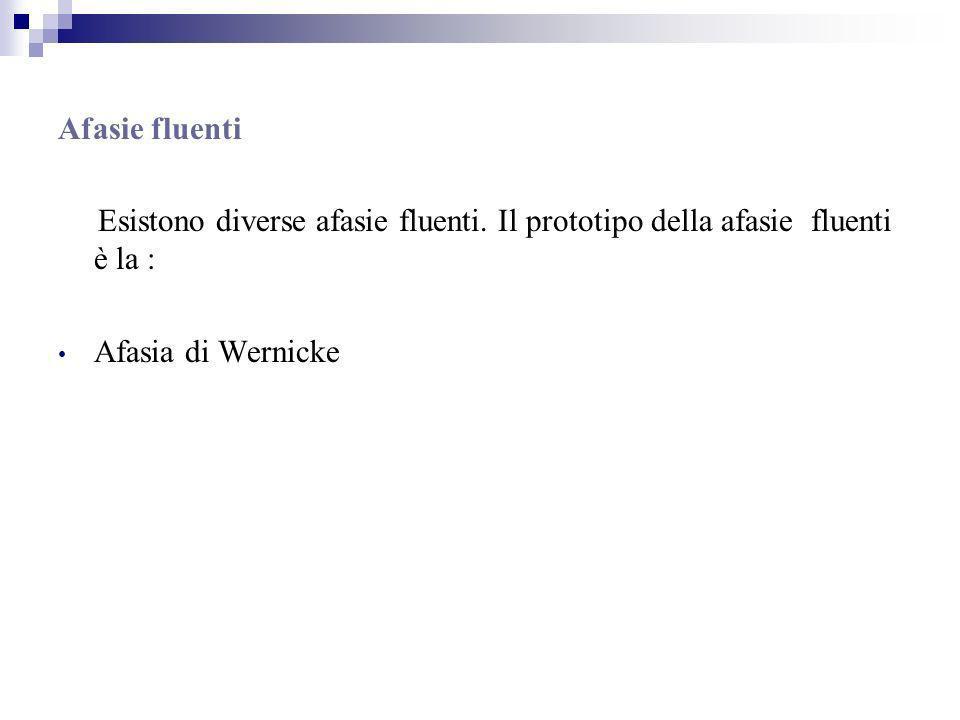 Afasie fluenti Esistono diverse afasie fluenti.