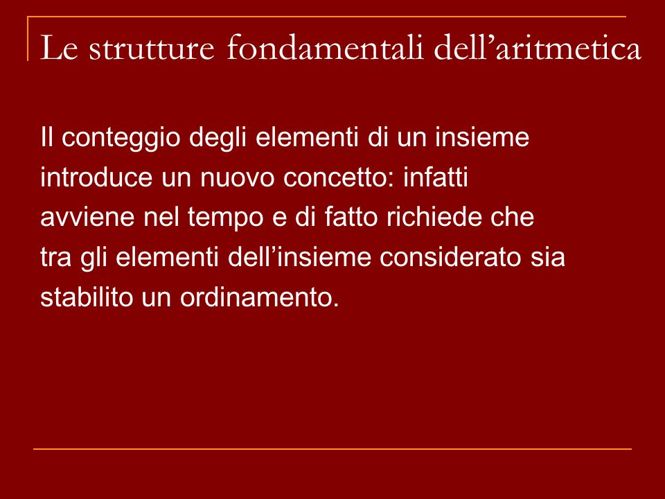 Le strutture fondamentali dell'aritmetica