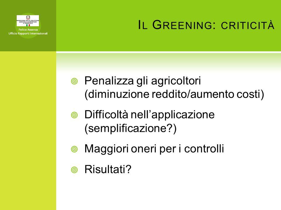 Il Greening: criticità