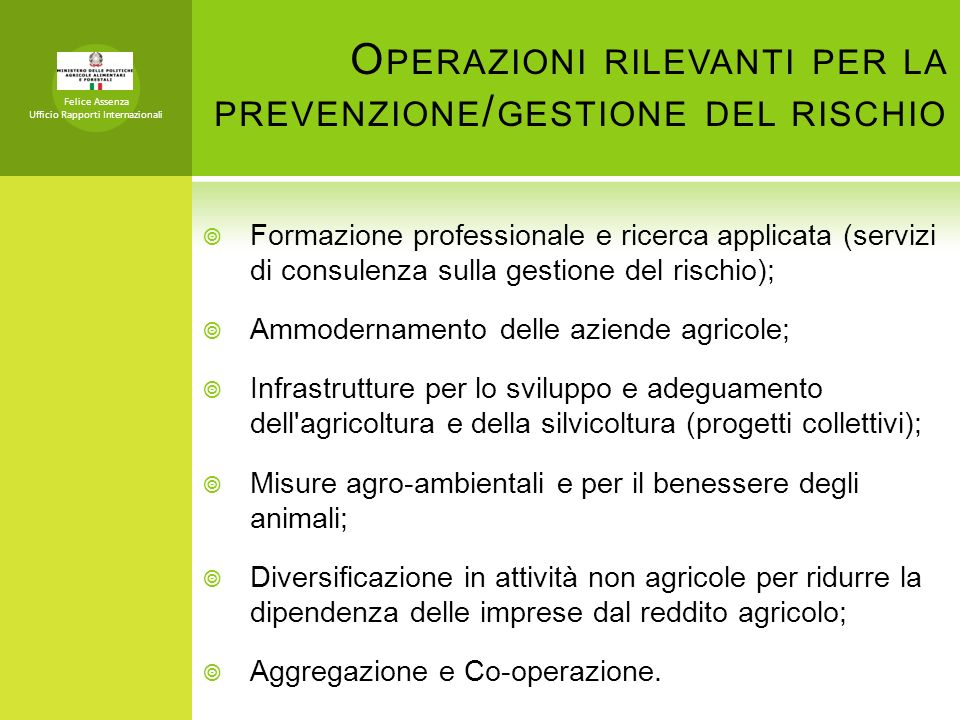 Operazioni rilevanti per la prevenzione/gestione del rischio