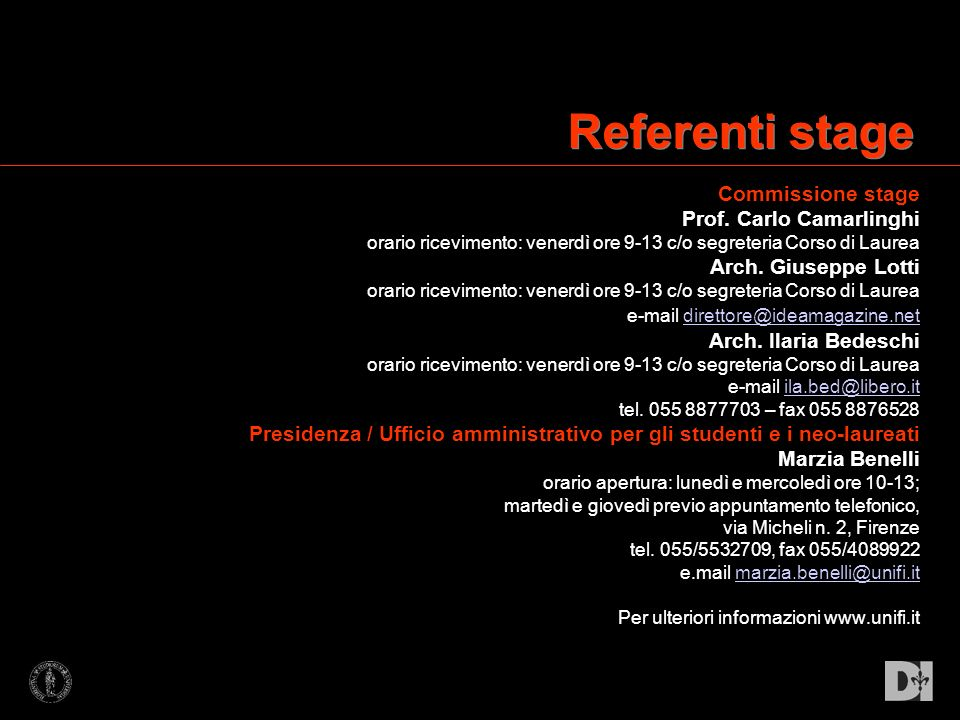 Referenti stage Commissione stage Prof. Carlo Camarlinghi