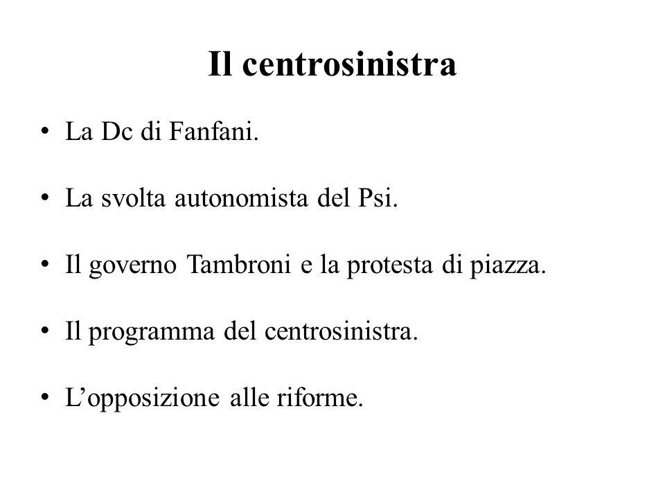 Il centrosinistra La Dc di Fanfani. La svolta autonomista del Psi.