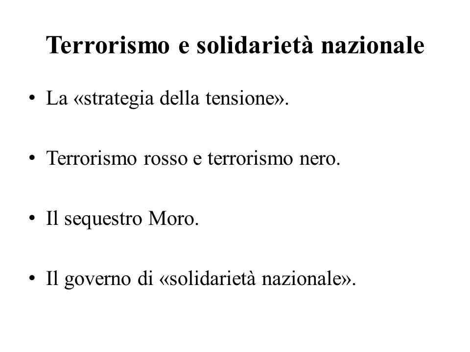 Terrorismo e solidarietà nazionale