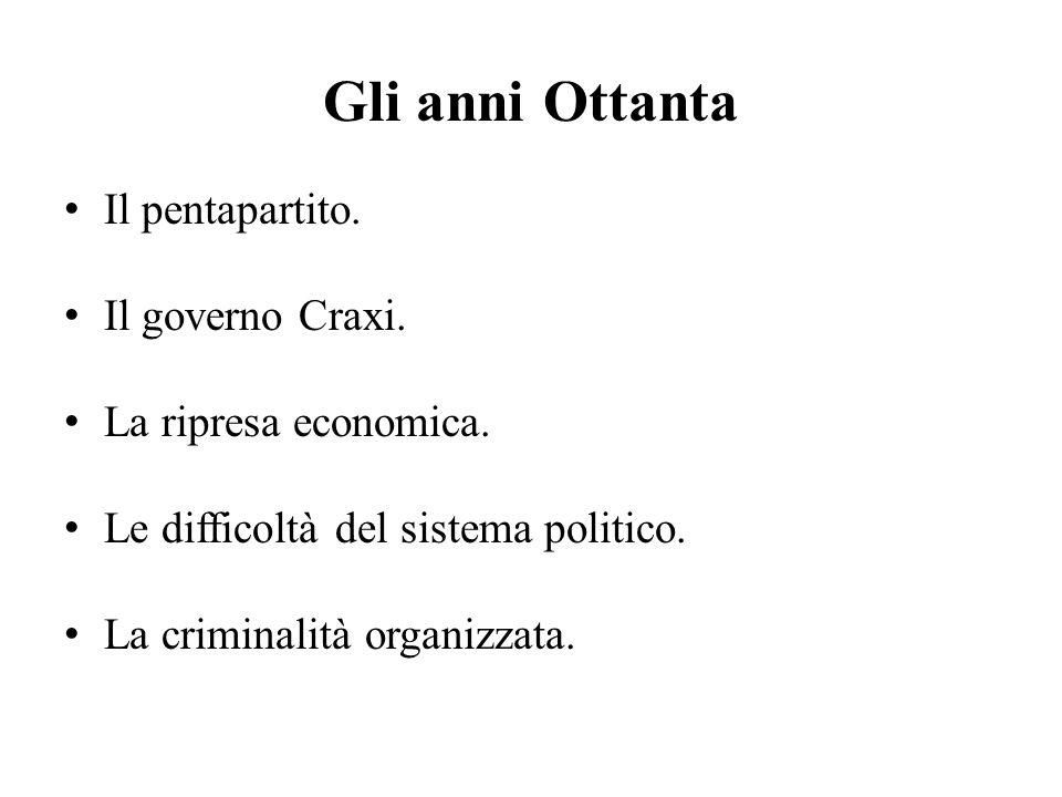 Gli anni Ottanta Il pentapartito. Il governo Craxi.