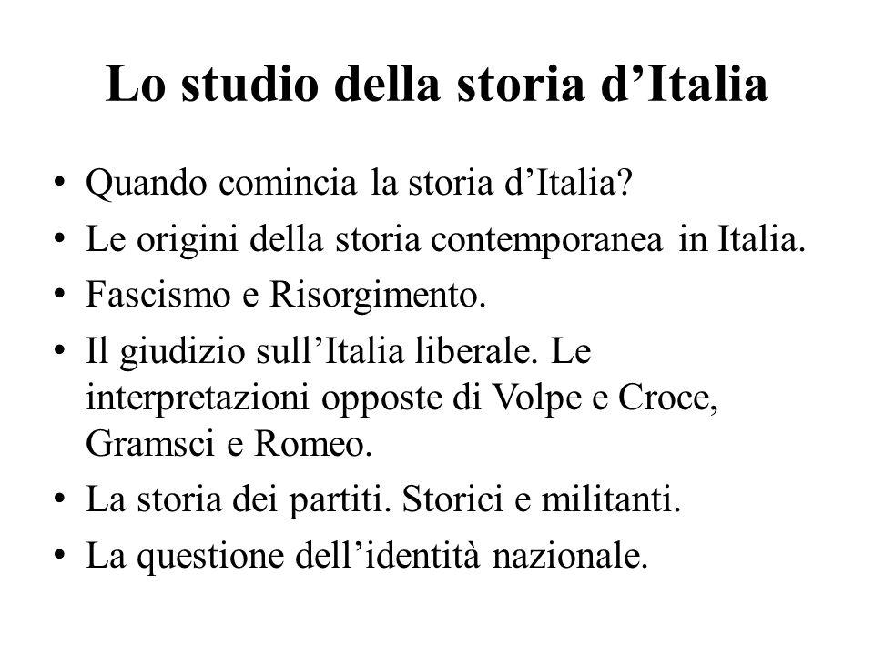 Lo studio della storia d'Italia