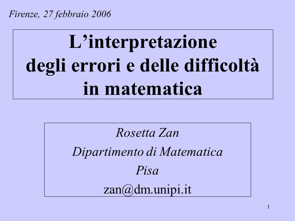 L'interpretazione degli errori e delle difficoltà in matematica