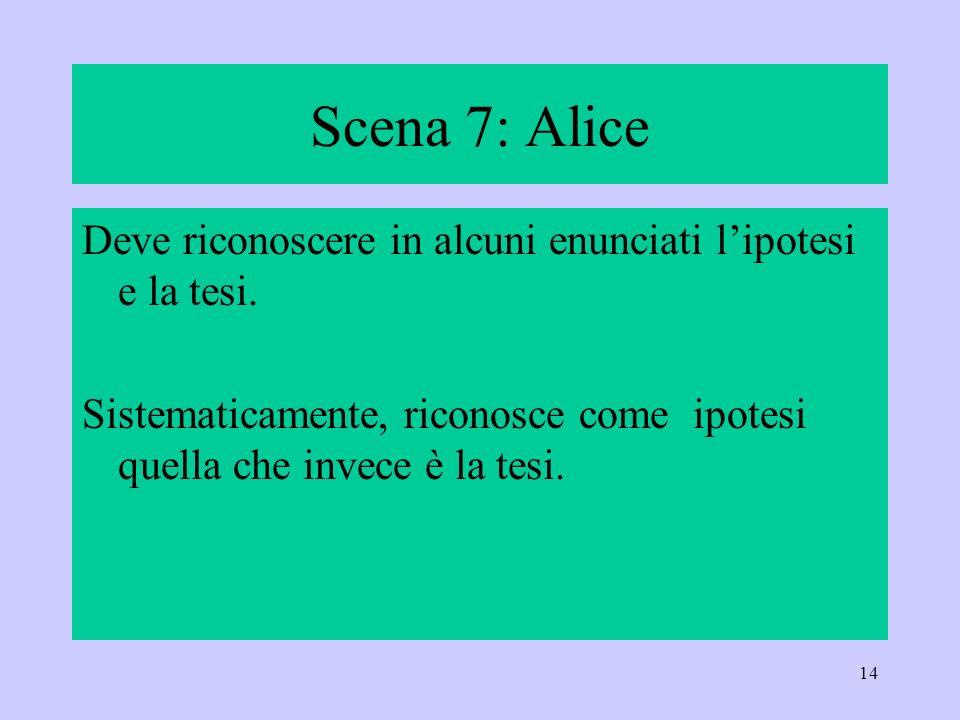 Scena 7: Alice Deve riconoscere in alcuni enunciati l'ipotesi e la tesi.