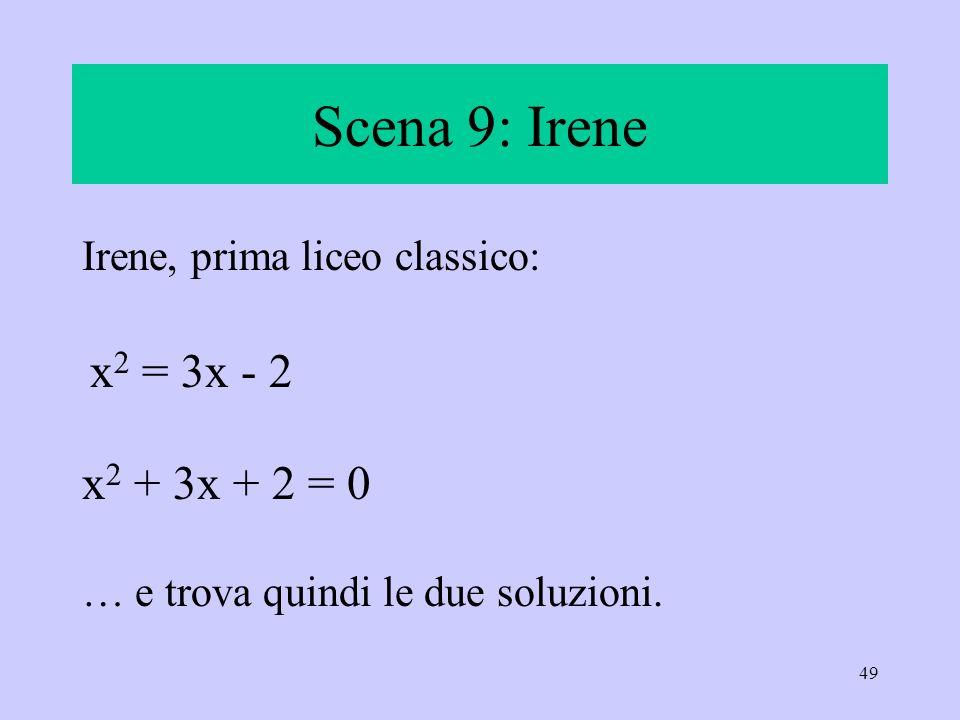 Scena 9: Irene x2 = 3x - 2 x2 + 3x + 2 = 0