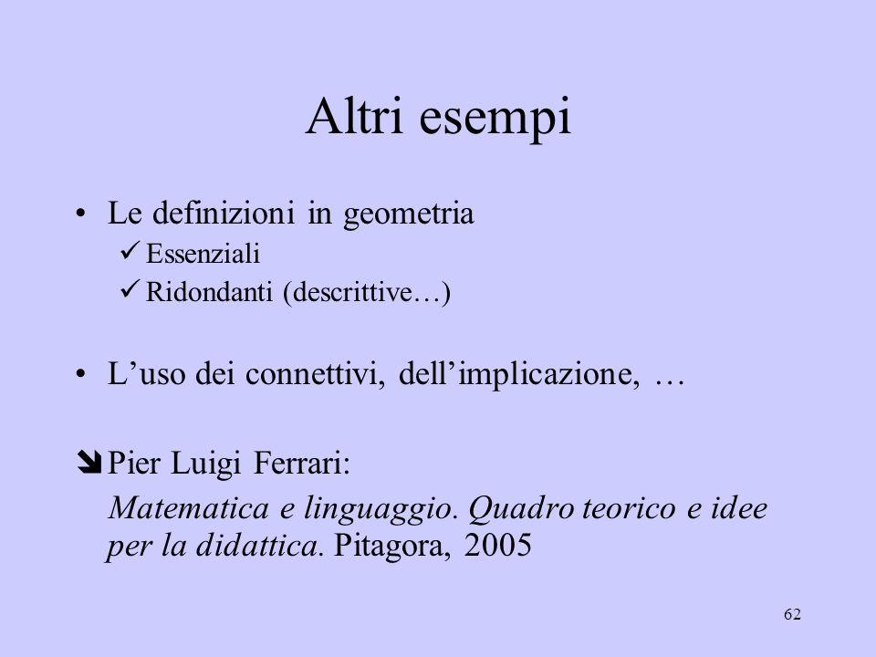 Altri esempi Le definizioni in geometria