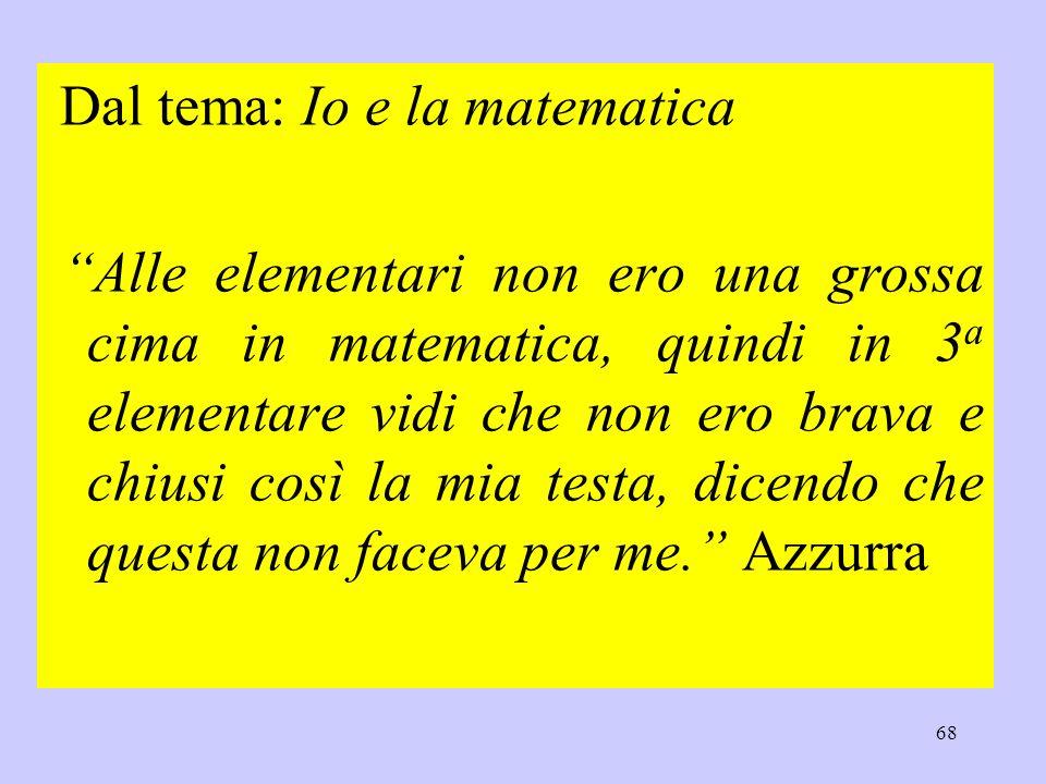 Dal tema: Io e la matematica