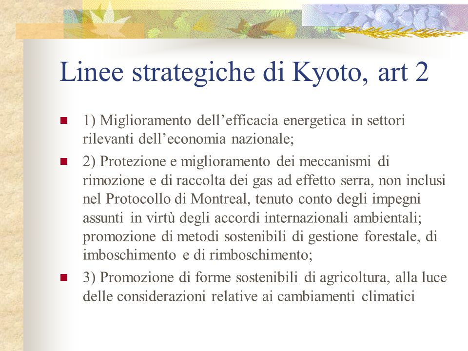 Linee strategiche di Kyoto, art 2