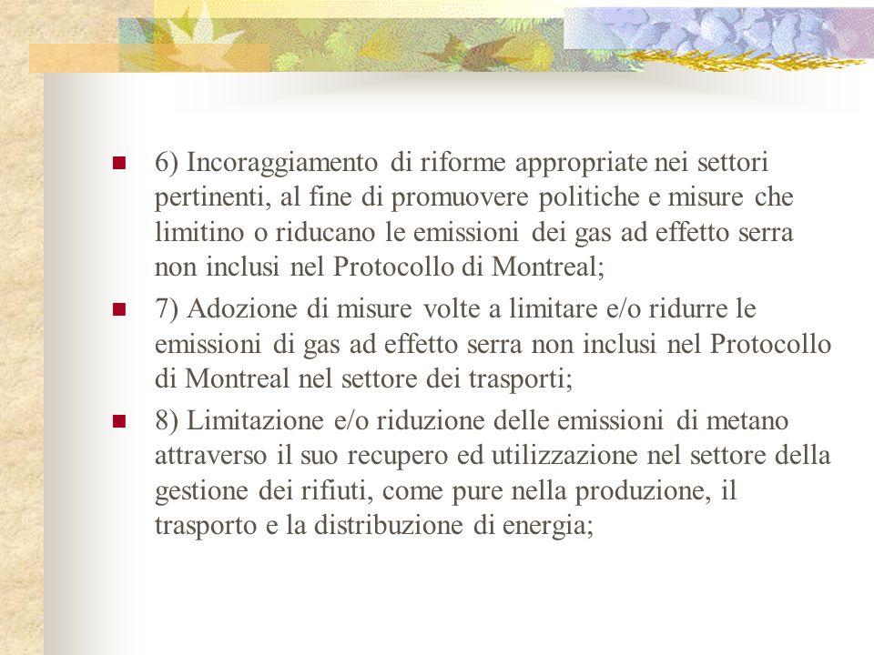 6) Incoraggiamento di riforme appropriate nei settori pertinenti, al fine di promuovere politiche e misure che limitino o riducano le emissioni dei gas ad effetto serra non inclusi nel Protocollo di Montreal;
