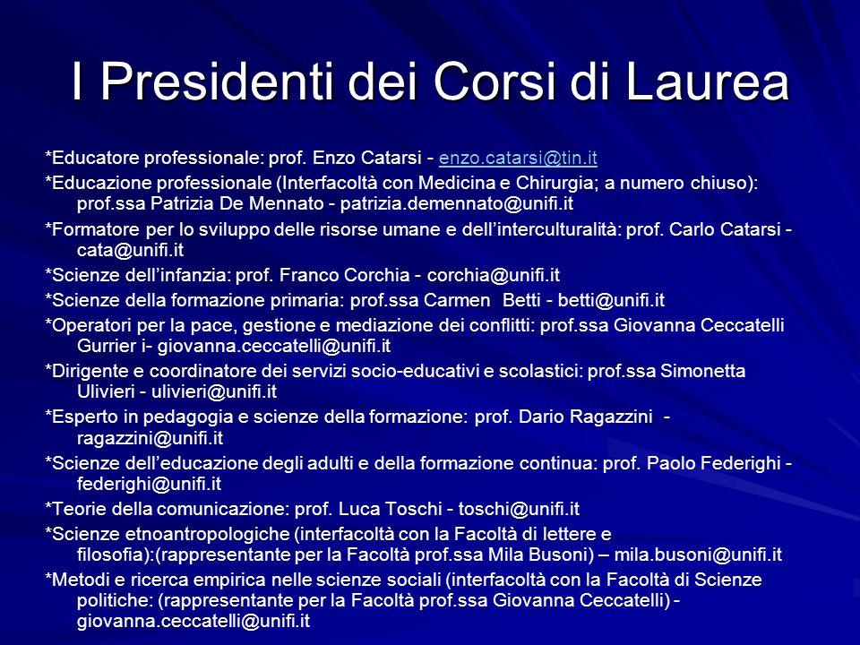 I Presidenti dei Corsi di Laurea