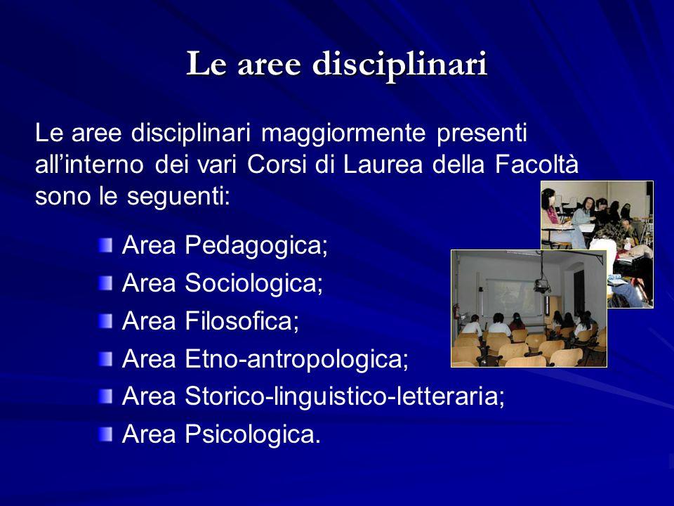 Le aree disciplinari Le aree disciplinari maggiormente presenti all'interno dei vari Corsi di Laurea della Facoltà sono le seguenti: