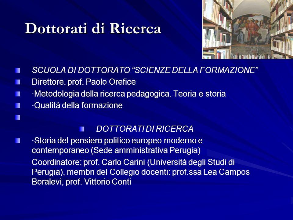 SCUOLA DI DOTTORATO SCIENZE DELLA FORMAZIONE