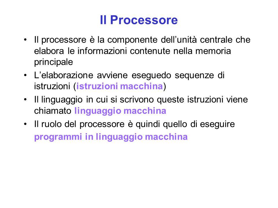 Il Processore Il processore è la componente dell'unità centrale che elabora le informazioni contenute nella memoria principale.