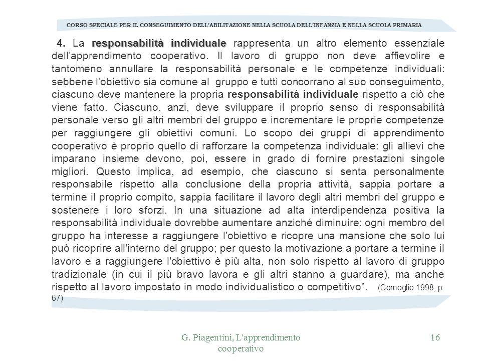 G. Piagentini, L apprendimento cooperativo