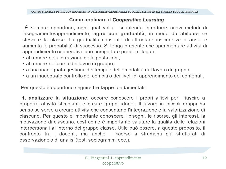 Come applicare il Cooperative Learning