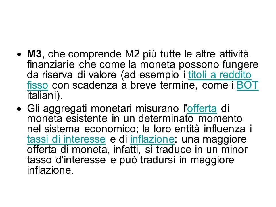 M3, che comprende M2 più tutte le altre attività finanziarie che come la moneta possono fungere da riserva di valore (ad esempio i titoli a reddito fisso con scadenza a breve termine, come i BOT italiani).