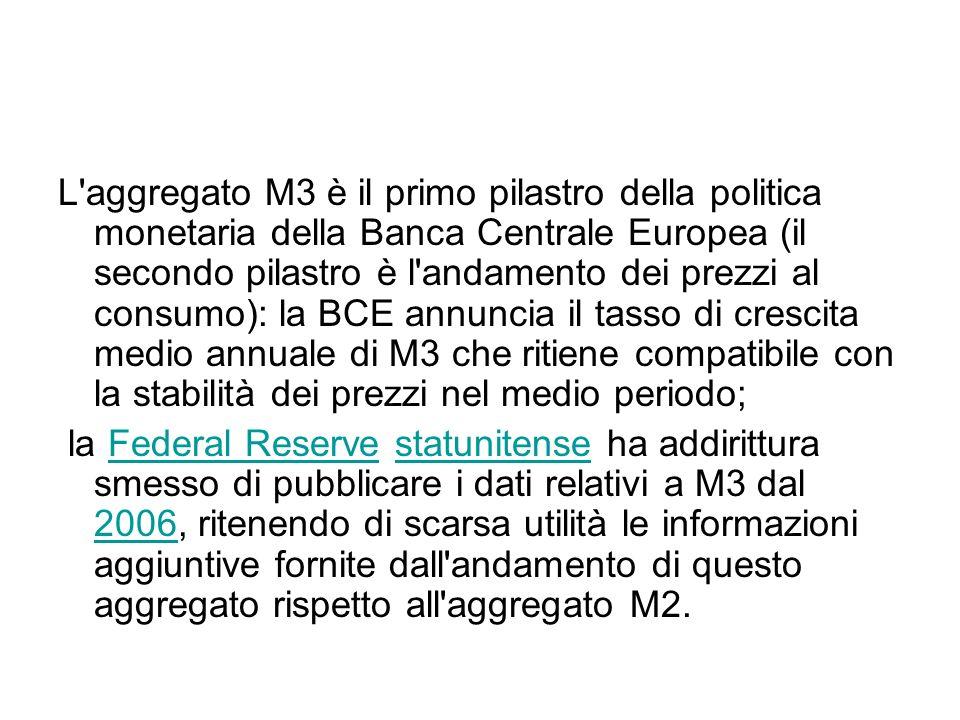L aggregato M3 è il primo pilastro della politica monetaria della Banca Centrale Europea (il secondo pilastro è l andamento dei prezzi al consumo): la BCE annuncia il tasso di crescita medio annuale di M3 che ritiene compatibile con la stabilità dei prezzi nel medio periodo;
