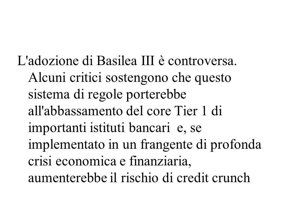 L adozione di Basilea III è controversa