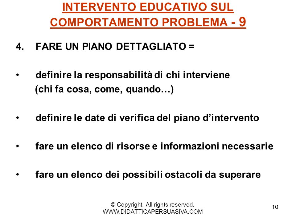 INTERVENTO EDUCATIVO SUL COMPORTAMENTO PROBLEMA - 9