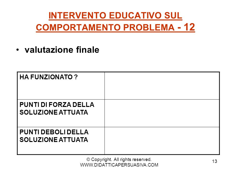 INTERVENTO EDUCATIVO SUL COMPORTAMENTO PROBLEMA - 12