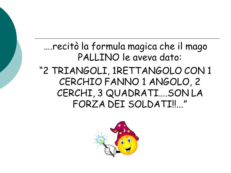 ….recitò la formula magica che il mago PALLINO le aveva dato: