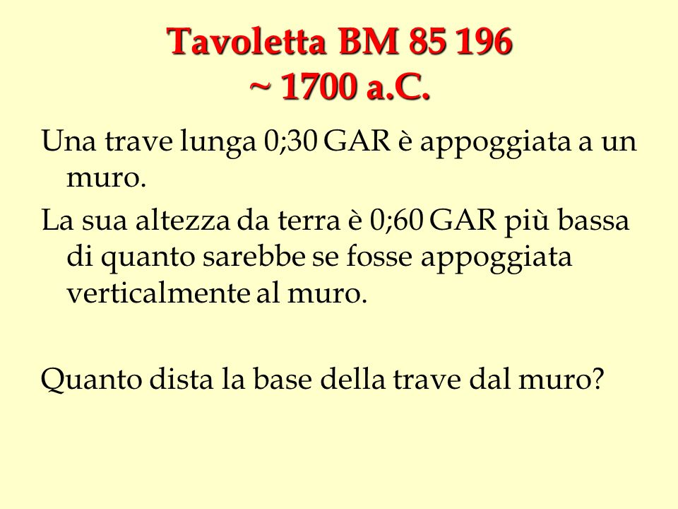 Tavoletta BM 85 196 ~ 1700 a.C. Una trave lunga 0;30 GAR è appoggiata a un muro.